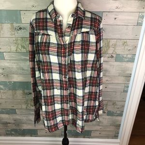 Free People plaid button up size M